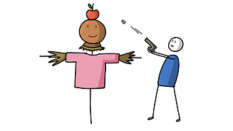 A guy in blue targeting the apple with a shooting gun
