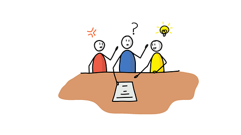 Three people discussing with each other