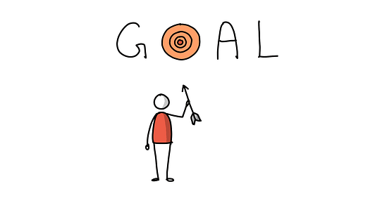 A guy in red setting his goal
